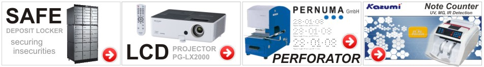 SDL locker, LCD Projector, Pernuma Perforator, Note counter
